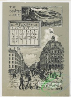 prang_calendars-00052 - 0972-New York Calendar, 1890, January-June-Statue of Liberty, Academy of Design, City Hall Tower, The 'Tribune' and 'Times' Buildings, The Narrows, T 108453