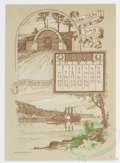 prang_calendars-00053 - 0975-New York Calendar 1890, July-December-General Grant's Tomb, Riverside Park and the Hudson, Central Park, The Belvedere, The Obelisk, The Lake, T 108461