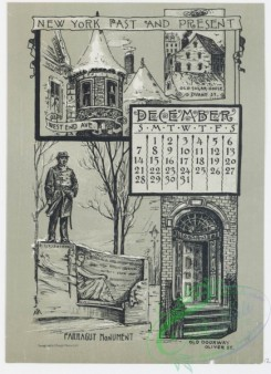 prang_calendars-00058 - 0975-New York Calendar 1890, July-December-General Grant's Tomb, Riverside Park and the Hudson, Central Park, The Belvedere, The Obelisk, The Lake, T 108466