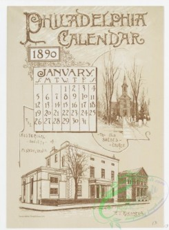 prang_calendars-00059 - 0976-Philadelphia Calendar, 1890, January-June-The Historical Society, The Old Swede's Church, Pennsylvania Academy of Fine Arts, The New City Hall, 108467