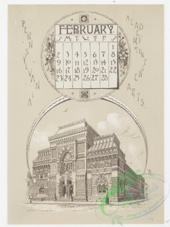 prang_calendars-00061 - 0976-Philadelphia Calendar, 1890, January-June-The Historical Society, The Old Swede's Church, Pennsylvania Academy of Fine Arts, The New City Hall, 108469