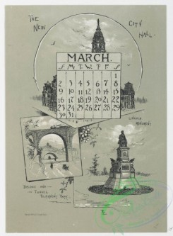 prang_calendars-00063 - 0976-Philadelphia Calendar, 1890, January-June-The Historical Society, The Old Swede's Church, Pennsylvania Academy of Fine Arts, The New City Hall, 108471