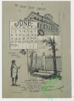 prang_calendars-00064 - 0976-Philadelphia Calendar, 1890, January-June-The Historical Society, The Old Swede's Church, Pennsylvania Academy of Fine Arts, The New City Hall, 108472