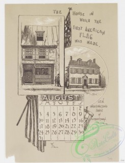 prang_calendars-00067 - 0978-Philadelphia Calendar, 1890, July-December-Zoological Gardens, The House in which the American Flag was made, General Washington's House in Germ 108477