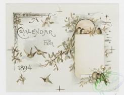 prang_calendars-00077 - 1172-Valentines, Christmas cards and calendars for 1894 depicting children, hearts, lockets, swings, flowers, bells, birds, hats, landscapes, trees, houses 100632