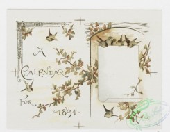 prang_calendars-00078 - 1172-Valentines, Christmas cards and calendars for 1894 depicting children, hearts, lockets, swings, flowers, bells, birds, hats, landscapes, trees, houses 100633