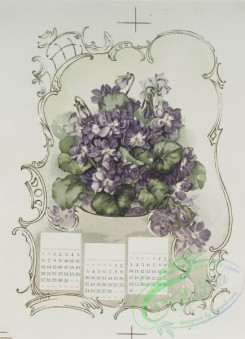 prang_calendars-00081 - 1233-Calendars depicting purple, yellow and white flowers 100951