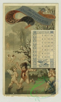 prang_calendars-00085 - 1278-Trade cards and calendars depicting angels ice skating, a boat, plants, fields and buildings with thatched roofs 101037