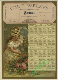 prang_calendars-00089 - 1380-(A trade calendar for 1880 depicting a girl with an umbrella picking flowers.) 101496