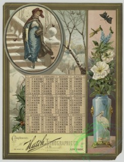 prang_calendars-00090 - 1471-(A calendar and trade card depicting birds, winter, snow, butterfly, holly, a vase of flowers and a women walking down stairs) 101967