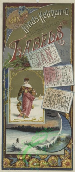 prang_calendars-00091 - 1535-A combined 1883 calendar and trade card depicting winter, holly, a woman, a river and decorative ornamentation 102250