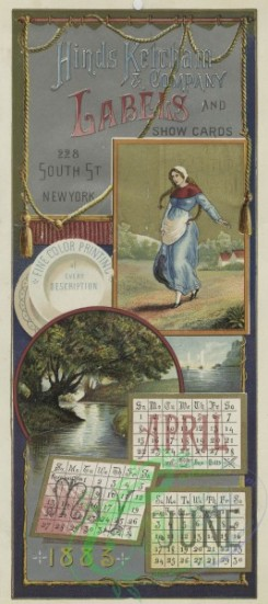 prang_calendars-00092 - 1537-A combined 1883 calendar and trade card depicting the summer, dishes, boats, and a woman 102256