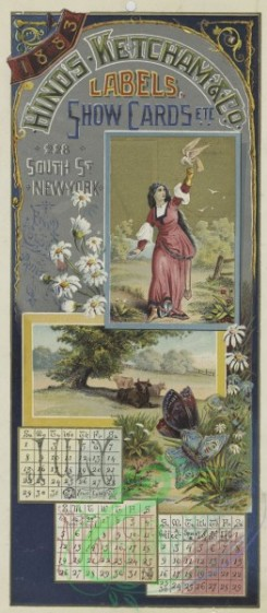 prang_calendars-00093 - 1545-A combined 1883 calendar and trade card depicting cattle, butterflies, flowers, a bird and a woman 102294