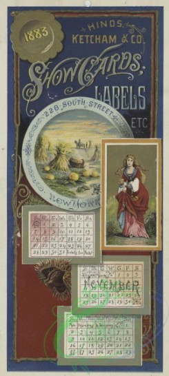 prang_calendars-00094 - 1547-A combined 1883 calendar and trade card depicting pumpkins, harvesting and a woman 102301