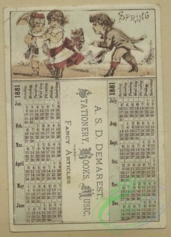 prang_calendars-00096 - 1657-Calendars and trade cards depicting cats, dogs, adults, children, angels, butterflies, flowers, kite, winter, spring, a barn yard and a fire 102875