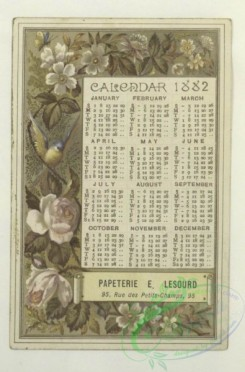 prang_calendars-00097 - 1688-Trade cards and calendars depicting flowers, wine, a table setting, a map, a bird, a Danish woman, a man hunting in Alaska, a man riding a horse, a sc 103082