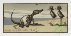 prang_cards_animals-00003 - 0062-Christmas and New Year cards depicting elves and animals-owls, polar bears, penguins, birds, giraffes, alligators 107028