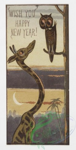prang_cards_animals-00005 - 0062-Christmas and New Year cards depicting elves and animals-owls, polar bears, penguins, birds, giraffes, alligators 107033