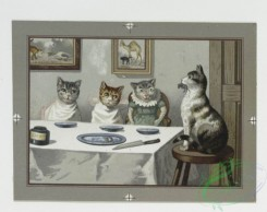 prang_cards_animals-00031 - 0237-Christmas and New Year cards depicting human behavior in cats and frogs-singing, dining and playing the cello and flute 104210