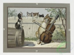 prang_cards_animals-00032 - 0237-Christmas and New Year cards depicting human behavior in cats and frogs-singing, dining and playing the cello and flute 104211
