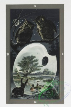 prang_cards_animals-00039 - 0238-Christmas and New Year cards depicting owls, cats, rabbits, pigs, ducks, painters' palates, and snow-covered landscapes 104218