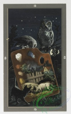prang_cards_animals-00040 - 0238-Christmas and New Year cards depicting owls, cats, rabbits, pigs, ducks, painters' palates, and snow-covered landscapes 104219