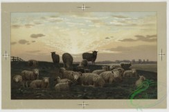 prang_cards_animals-00058 - 0442-Birthday, Christmas, and New Year cards depicting cows, sheep, flowers in baskets, tree branches, sunsets, landscapes and a church 105860