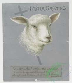 prang_cards_animals-00059 - 0455-Christmas and Easter cards depicting a lamb, a cross, butterflies, children, sleds, swings, dogs and birds 105949