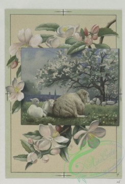 prang_cards_animals-00065 - 0494-Christmas cards depicting rural scenes with farmers, sheep, rowboat, small child in snow, flowers 106236