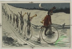 prang_cards_animals-00075 - 0578-Christmas cards depicting cats, and animals playing in the snow with snow man, roller skates, bicycles 106754