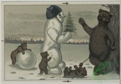 prang_cards_animals-00076 - 0578-Christmas cards depicting cats, and animals playing in the snow with snow man, roller skates, bicycles 106755
