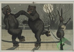 prang_cards_animals-00078 - 0578-Christmas cards depicting cats, and animals playing in the snow with snow man, roller skates, bicycles 106757
