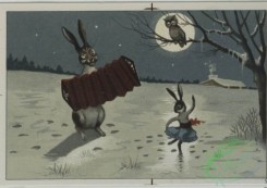 prang_cards_animals-00079 - 0578-Christmas cards depicting cats, and animals playing in the snow with snow man, roller skates, bicycles 106758
