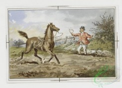 prang_cards_animals-00084 - 059-Christmas and New Year cards with message-'Hang sorrow Care will kill a cat and therefore let's be merry', equestrian scenes 106884