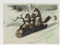 prang_cards_animals-00113 - 0713-Christmas cards depicting owls, foxes, rabbits, and squirrels in the snow, child in bed, Prang's Standard Stationery-German Antique Parchment 107448