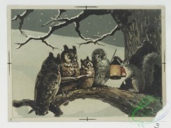 prang_cards_animals-00114 - 0713-Christmas cards depicting owls, foxes, rabbits, and squirrels in the snow, child in bed, Prang's Standard Stationery-German Antique Parchment 107449