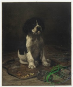 prang_cards_animals-00115 - 0792-My Model (portrait of puppy surrounded by painting materials) 107715