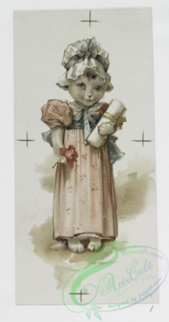 prang_cards_animals-00140 - 1046-Golden Treasures-Valentines and Christmas cards depicting cats dressed in clothes, women, spades, clubs, hearts, diamonds, clovers, paint palettes, 100177