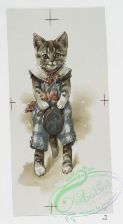 prang_cards_animals-00141 - 1046-Golden Treasures-Valentines and Christmas cards depicting cats dressed in clothes, women, spades, clubs, hearts, diamonds, clovers, paint palettes, 100178