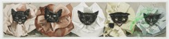 prang_cards_animals-00152 - 1088-Prints entitled 'at the party' and 'the minstrels,' depicting white cats with ribbons around their necks and black cats with ruffled collars 100335