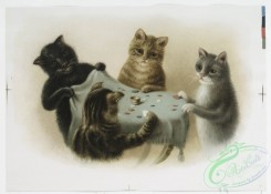 prang_cards_animals-00154 - 1108-Prints entitled 'tiddledy-winks' and 'whilst,' depicting cats playing tiddledywinks and owls playing cards on a tree stump in the snow 100377