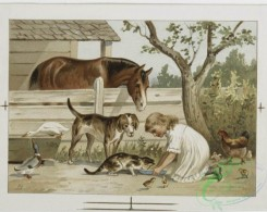 prang_cards_animals-00160 - 1143-Prints entitled 'Estella' and 'Celestine', a card depicting chickens, duck, a horse, a dog and a girl feeding a cat in a barnyard 100523