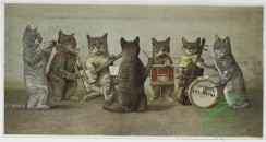 prang_cards_animals-00164 - 1190-Easter cards depicting chicks using flowers as umbrellas and standing on egg shells, a print entitled 'Thomas's Orchestra' depicting a cat orchestra 100730