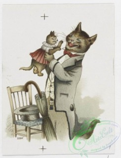 prang_cards_animals-00171 - 1216-Christmas and text cards depicting landscapes, sunsets, sailboats and cats in human situations-dressed in clothing, cooking, reading, sleeping in 100851