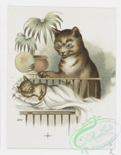 prang_cards_animals-00172 - 1216-Christmas and text cards depicting landscapes, sunsets, sailboats and cats in human situations-dressed in clothing, cooking, reading, sleeping in 100852