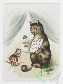 prang_cards_animals-00174 - 1216-Christmas and text cards depicting landscapes, sunsets, sailboats and cats in human situations-dressed in clothing, cooking, reading, sleeping in 100854