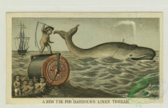 prang_cards_animals-00194 - 1309-Trade cards depicting boys using-a sewing machine to make clothes, a thread and needle to harpoon a whale, thread to capture an elephant, the car 101161