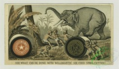 prang_cards_animals-00195 - 1309-Trade cards depicting boys using-a sewing machine to make clothes, a thread and needle to harpoon a whale, thread to capture an elephant, the car 101162