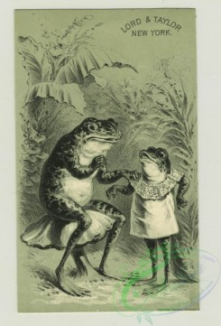 prang_cards_animals-00209 - 1395-Trade cards depicting frogs-sitting on mushrooms, dressing a frog child, clothed in a dress, looking longingly at a pair of boots 101582