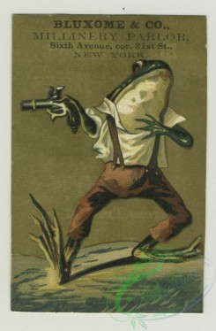 prang_cards_animals-00217 - 1403-Trade cards depicting flowers, fish, ships, a couple riding horses, moonlit Pompeii, columns, frogs dressed in clothes with a cane and gun 101646